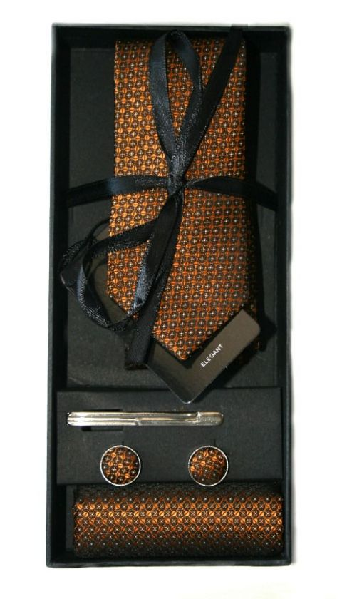 Copper& Black Embossed Print Tie, Cuff Link & Pocket Square Set